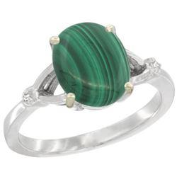 Natural 2.76 ctw Malachite & Diamond Engagement Ring 10K White Gold - REF-22W3K