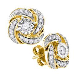 0.32 CTW Diamond Pinwheel Stud Earrings 10KT Yellow Gold - REF-38K9W