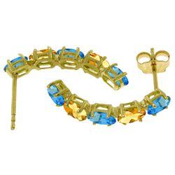 Genuine 2.5 ctw Blue Topaz & Citrine Earrings Jewelry 14KT White Gold - REF-37R4P