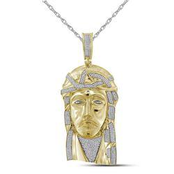 1.6 CTW Mens Diamond Jesus Christ Messiah Charm Pendant 10KT Yellow Gold - REF-184W4K