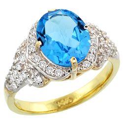 Natural 2.92 ctw swiss-blue-topaz & Diamond Engagement Ring 14K Yellow Gold - REF-102G7M