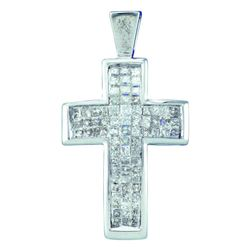 0.50 CTWPrincess Diamond Cross Pendant 14KT White Gold - REF-47W9K