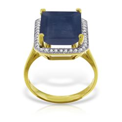 Genuine 6.6 ctw Sapphire & Diamond Ring Jewelry 14KT Yellow Gold - REF-114X8M