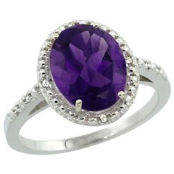 Natural 2.42 ctw Amethyst & Diamond Engagement Ring 10K White Gold - REF-25Z5Y