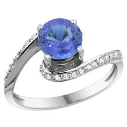Natural 1.08 ctw tanzanite & Diamond Engagement Ring 14K White Gold - REF-60V3F
