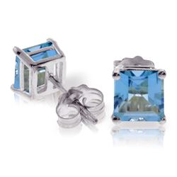 Genuine 1.75 ctw Blue Topaz Earrings Jewelry 14KT White Gold - REF-24N3R