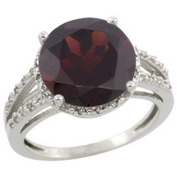 Natural 5.34 ctw Garnet & Diamond Engagement Ring 10K White Gold - REF-41Y6X