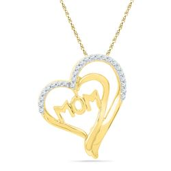 0.16 CTW Diamond Heart Love Pendant 10KT Yellow Gold - REF-18X2Y