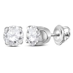 0.90 CTWDiamond Solitaire Stud Earrings 14KT White Gold - REF-89F9N