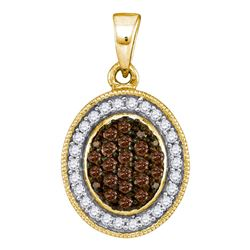 0.35 CTW Cognac-brown Color Diamond Oval Cluster Pendant 10KT Yellow Gold - REF-19W4K