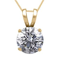 14K Yellow Gold Jewelry 0.75 ct Natural Diamond Solitaire Necklace - REF#185Z6A-WJ13317