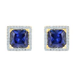 2 CTW Princess Created Blue Sapphire Stud Earrings 10KT Yellow Gold - REF-25N4F