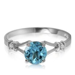 Genuine 1.02 ctw Blue Topaz & Diamond Ring Jewelry 14KT White Gold - REF-28V3W