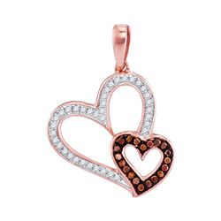 0.15 CTW Red Color Diamond Double Heart Pendant 10KT Rose Gold - REF-18Y2X