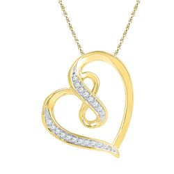 0.06 CTW Diamond Heart Infinity Pendant 10KT Yellow Gold - REF-8F9N