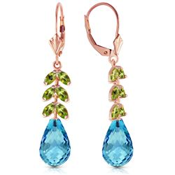 Genuine 11.20 ctw Blue Topaz & Peridot Earrings Jewelry 14KT Rose Gold - REF-56N2R