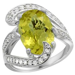 Natural 6.22 ctw lemon-quartz & Diamond Engagement Ring 14K White Gold - REF-129Z2Y