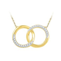 0.10 CTW Diamond Double Circle Pendant 10KT Yellow Gold - REF-18X2Y