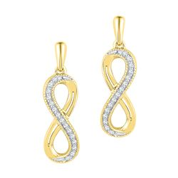 0.10 CTW Diamond Infinity Dangle Earrings 10KT Yellow Gold - REF-12Y2X