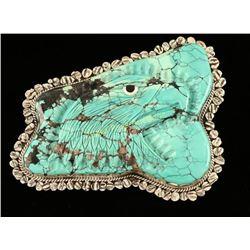 Large Turquoise & Sterling Eagle Belt Buckle