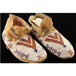 Pair of Sioux Indian Beaded Moccasins