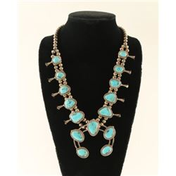 Navajo Turquoise Squash Blossom Necklace