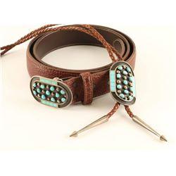 Matching Zuni Belt Buckle & Bolo Tie