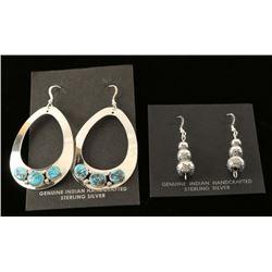 Lot of 2 Pairs Native American Sterling Earrings