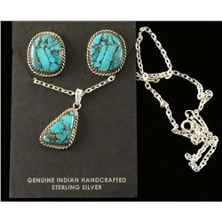 Kingman Turquoise Navajo Silver Pendant Set