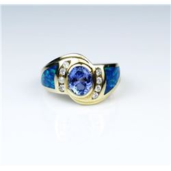 Vivid Tanzanite & Black Opal Ring