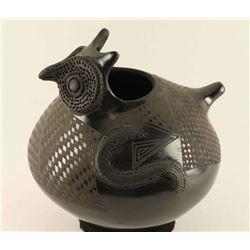 Santa Clara Blackware Owl Pot