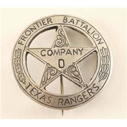 Texas Rangers Frontier Battalion Co. D Badge