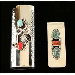 Native American Silver Money Clip & Lighter Cover