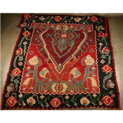 Antique Kiim Wool Rug with Medallion Pattern