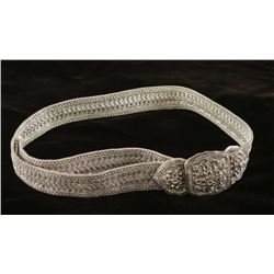 Woven Silver Belt with Buckle
