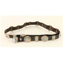 Ladies Sterling & Turquoise Concho Belt