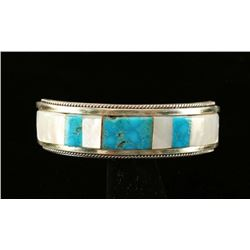 Old Pawn Native American Inlaid Cuff Bracelet