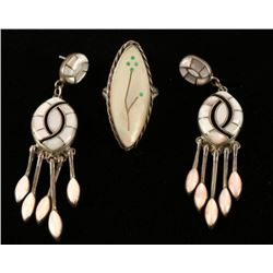 Mother of Pearl Ring & Earrings