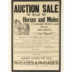 Vintage Horse Auction Poster