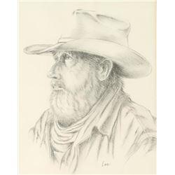 Original Pencil Drawing of Cowboy