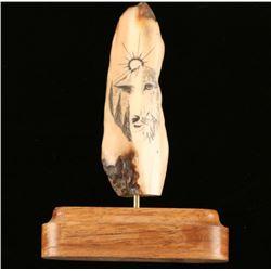 Scrimshaw Wolf Art Piece