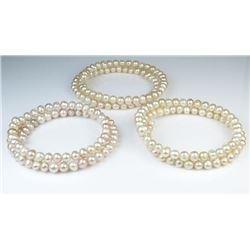 Lot of 3 Freshwater Pearl Bangle Wrap Bracelets