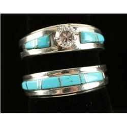 Custom Made Silver, Turquoise & Moissanite Rings