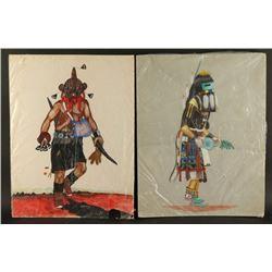 Collection of 7 Original Unframed Art Pieces
