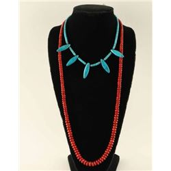 Apple Coral & Turquoise Bead Necklace