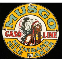 Vintage Musgo Gasoline Porcelain Advertising Sign