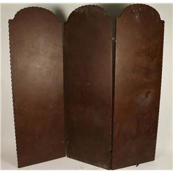 Leather Three Panel Screen