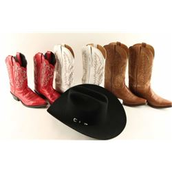 Lot of 3 Cowboy Boots & Hat