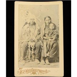 Old West Indian Chief & Squaw with Child Cabinet