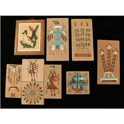 Lot of 6 Small Native American Sand Paintings